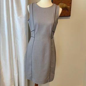 H&M Gray w/ Black Piping Sheath Lined Sleeveless